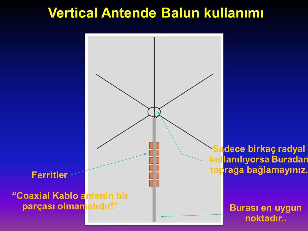 Vertical Antende Balun kullanımı Ferritler Coaxial Kablo antenin bir parçası olmamalıdır! Burası en uygun noktadır..