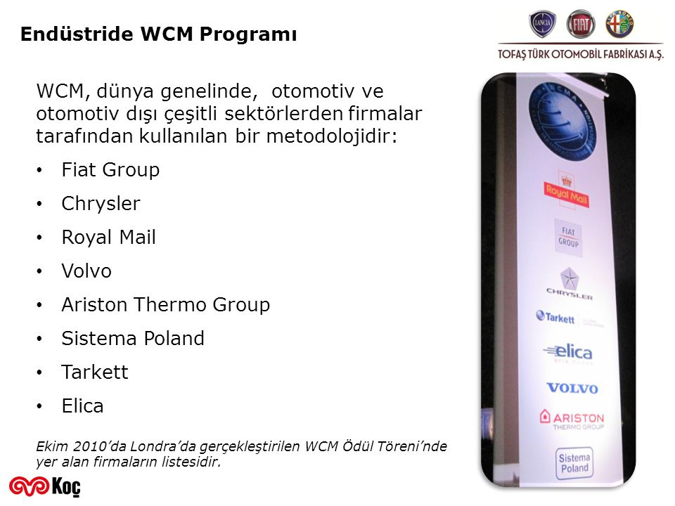 Endüstride WCM Programı WCM, dünya genelinde, otomotiv ve otomotiv dışı çeşitli sektörlerden firmalar tarafından kullanılan bir metodolojidir: Fiat Gr