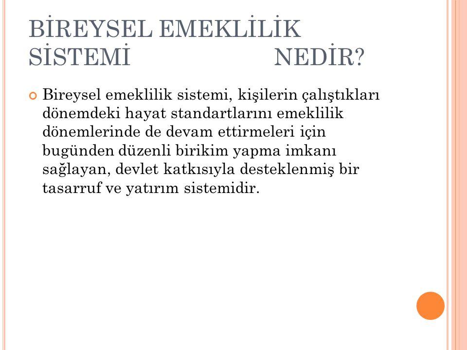 BİREYSEL EMEKLİLİK SİSTEMİ NEDİR.
