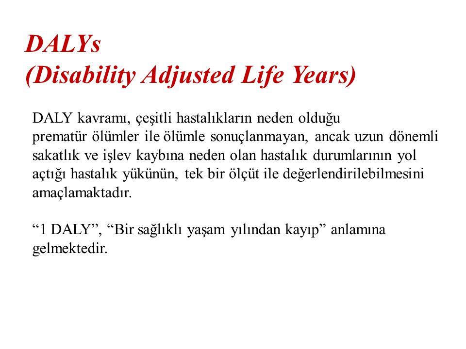 DALYs (Disability Adjusted Life Years) DALY kavramı, çeşitli hastalıkların neden olduğu prematür ölümler ile ölümle sonuçlanmayan, ancak uzun dönemli