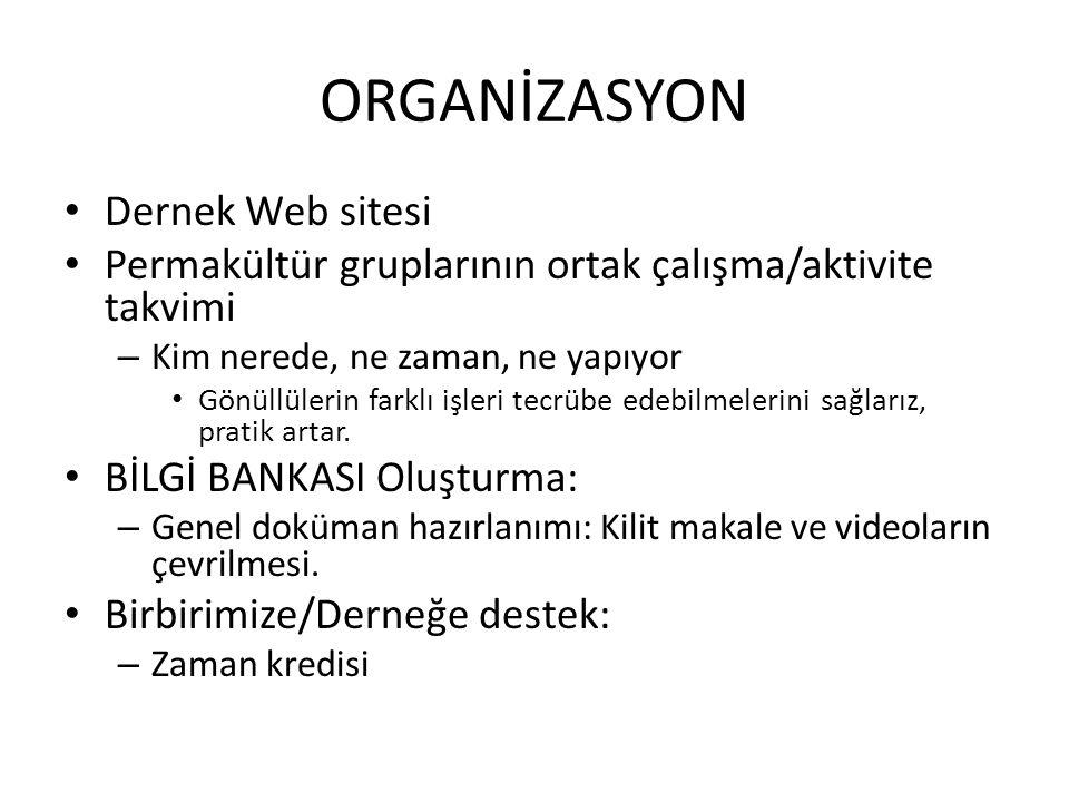 ORGANİZASYON Dernek Web sitesi Permakültür gruplarının ortak çalışma/aktivite takvimi – Kim nerede, ne zaman, ne yapıyor Gönüllülerin farklı işleri te