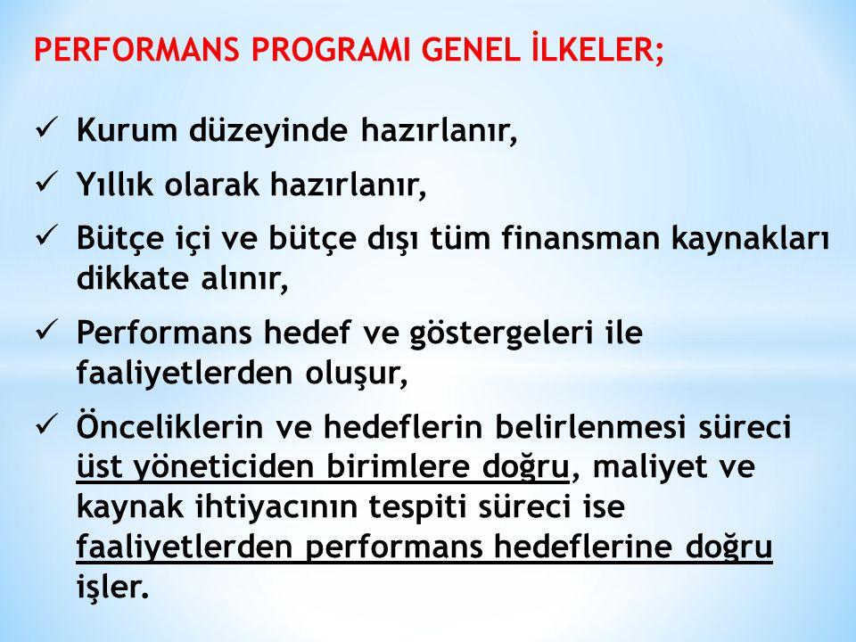 PERFORMANS PROGRAMI GENEL İLKELER; Kurum düzeyinde hazırlanır, Yıllık olarak hazırlanır, Bütçe içi ve bütçe dışı tüm finansman kaynakları dikkate alın