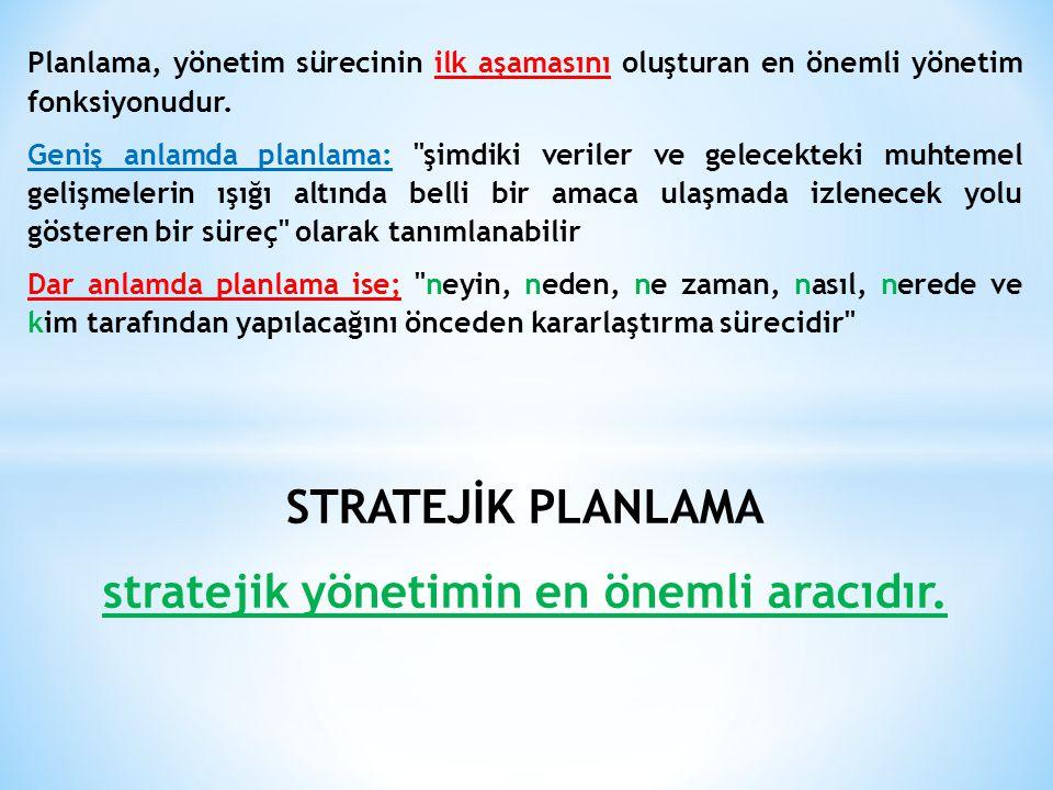 Planlama, yönetim sürecinin ilk aşamasını oluşturan en önemli yönetim fonksiyonudur. Geniş anlamda planlama: