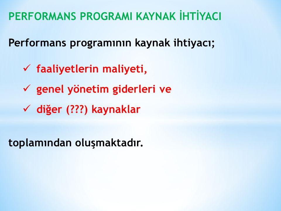 PERFORMANS PROGRAMI KAYNAK İHTİYACI Performans programının kaynak ihtiyacı; faaliyetlerin maliyeti, genel yönetim giderleri ve diğer (???) kaynaklar t