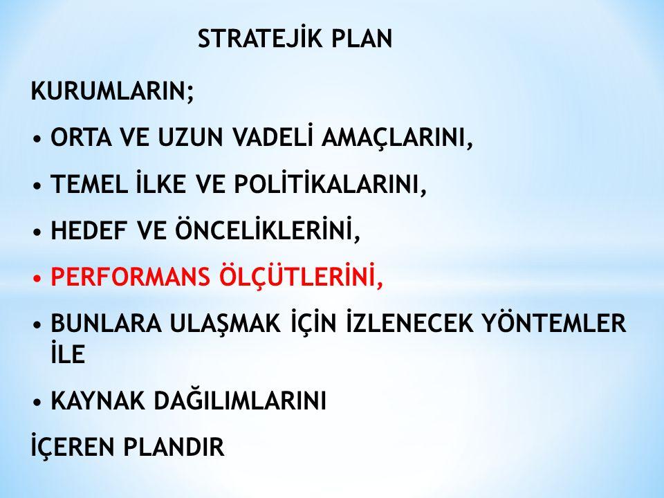 Stratejik Planda Yer Alması Gereken Temel Unsurlar Durum analizi (özet) Katılımcılığın nasıl sağlandığına ilişkin açıklama Misyon, vizyon, temel değerler En az bir amaç Her amacın altında en az bir hedef Hedef ölçülebilir şekilde ifade edilememişse ölçüm kriter(ler)i Stratejiler Tüm amaç ve hedefleri içeren ….