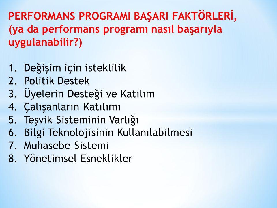 PERFORMANS PROGRAMI BAŞARI FAKTÖRLERİ, (ya da performans programı nasıl başarıyla uygulanabilir?) 1.Değişim için isteklilik 2.Politik Destek 3.Üyelerin Desteği ve Katılım 4.Çalışanların Katılımı 5.Teşvik Sisteminin Varlığı 6.Bilgi Teknolojisinin Kullanılabilmesi 7.Muhasebe Sistemi 8.Yönetimsel Esneklikler