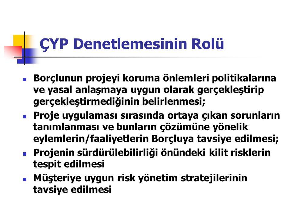 ÇYP Denetlemesinin Rolü Borçlunun projeyi koruma önlemleri politikalarına ve yasal anlaşmaya uygun olarak gerçekleştirip gerçekleştirmediğinin belirle