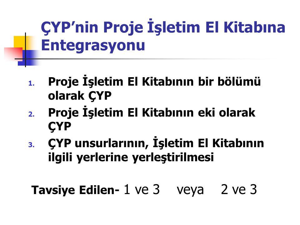 ÇYP'nin Proje İşletim El Kitabına Entegrasyonu 1. Proje İşletim El Kitabının bir bölümü olarak ÇYP 2. Proje İşletim El Kitabının eki olarak ÇYP 3. ÇYP