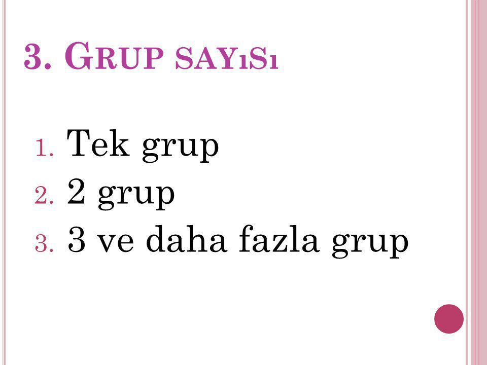 3. G RUP SAYıSı 1. Tek grup 2. 2 grup 3. 3 ve daha fazla grup