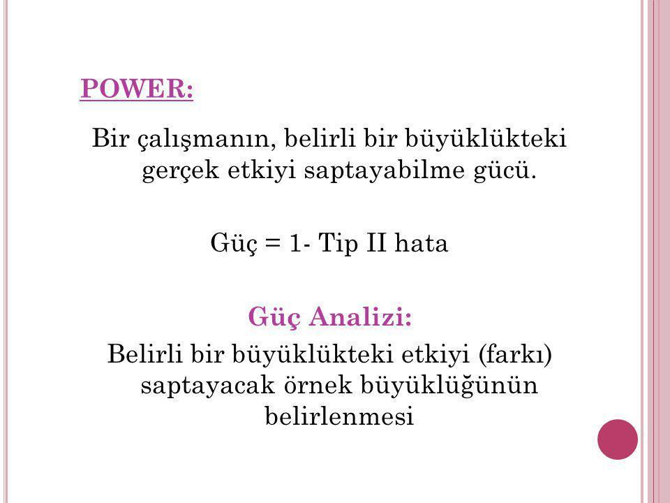 POWER: Bir çalışmanın, belirli bir büyüklükteki gerçek etkiyi saptayabilme gücü. Güç = 1- Tip II hata Güç Analizi: Belirli bir büyüklükteki etkiyi (fa