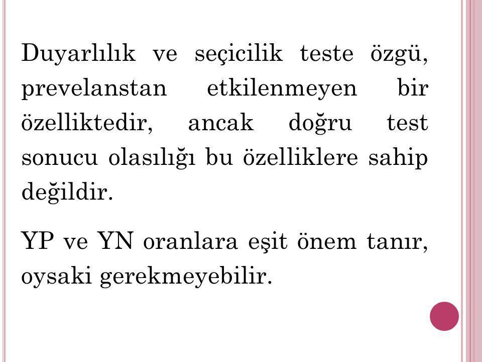 Duyarlılık ve seçicilik teste özgü, prevelanstan etkilenmeyen bir özelliktedir, ancak doğru test sonucu olasılığı bu özelliklere sahip değildir. YP ve
