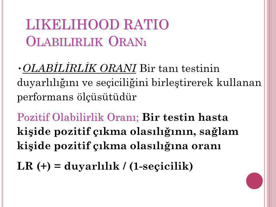 LIKELIHOOD RATIO O LABILIRLIK O RANı OLABİLİRLİK ORANI Bir tanı testinin duyarlılığını ve seçiciliğini birleştirerek kullanan performans ölçüsütüdür P