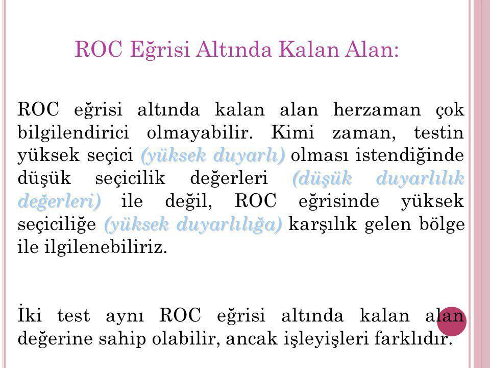 (yüksek duyarlı) (düşük duyarlılık değerleri) (yüksek duyarlılığa) ROC eğrisi altında kalan alan herzaman çok bilgilendirici olmayabilir. Kimi zaman,