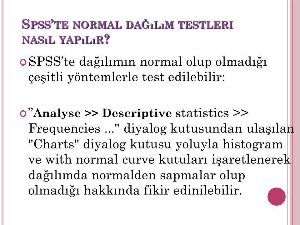 """S PSS ' TE NORMAL DAĞıLıM TESTLERI NASıL YAPıLıR ? SPSS'te dağılımın normal olup olmadığı çeşitli yöntemlerle test edilebilir: """" Analyse >> Descriptiv"""