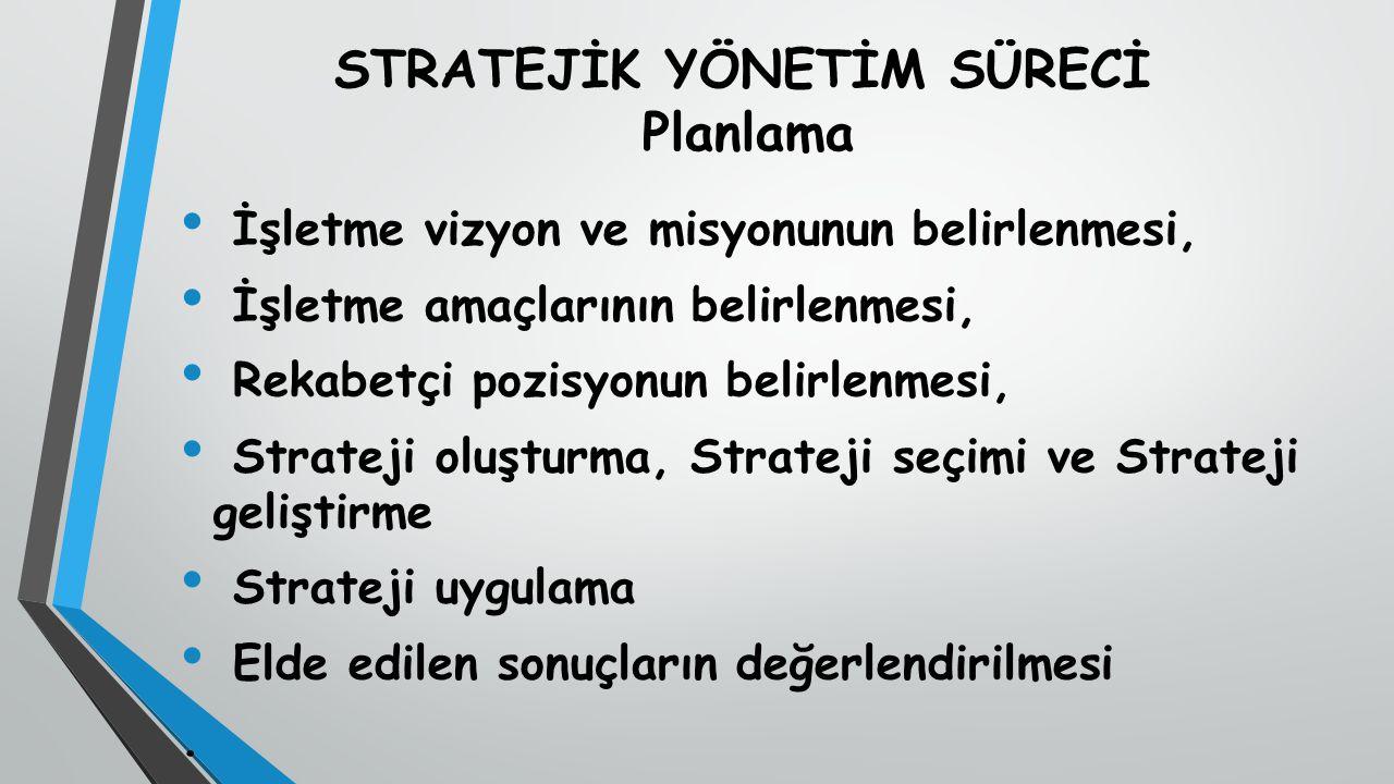 STRATEJİK YÖNETİM SÜRECİ Planlama İşletme vizyon ve misyonunun belirlenmesi, İşletme amaçlarının belirlenmesi, Rekabetçi pozisyonun belirlenmesi, Strateji oluşturma, Strateji seçimi ve Strateji geliştirme Strateji uygulama Elde edilen sonuçların değerlendirilmesi.