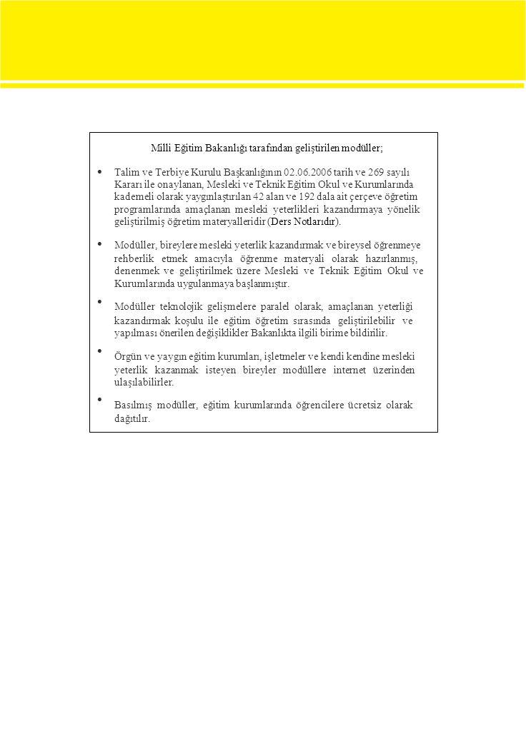 Milli Eğitim Bakanlığı tarafından geliştirilen modüller;  Talim ve Terbiye Kurulu Başkanlığının 02.06.2006 tarih ve 269 sayılı Kararı ile on