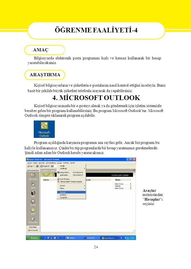 ÖĞRENME FAALİYETİ-4 AMAÇ Bilgisayarda elektronik posta programını hızlı ve hatasız kullanarak bir hesap yaratabileceksiniz. ARAŞTIRMA Kişisel bilgisay