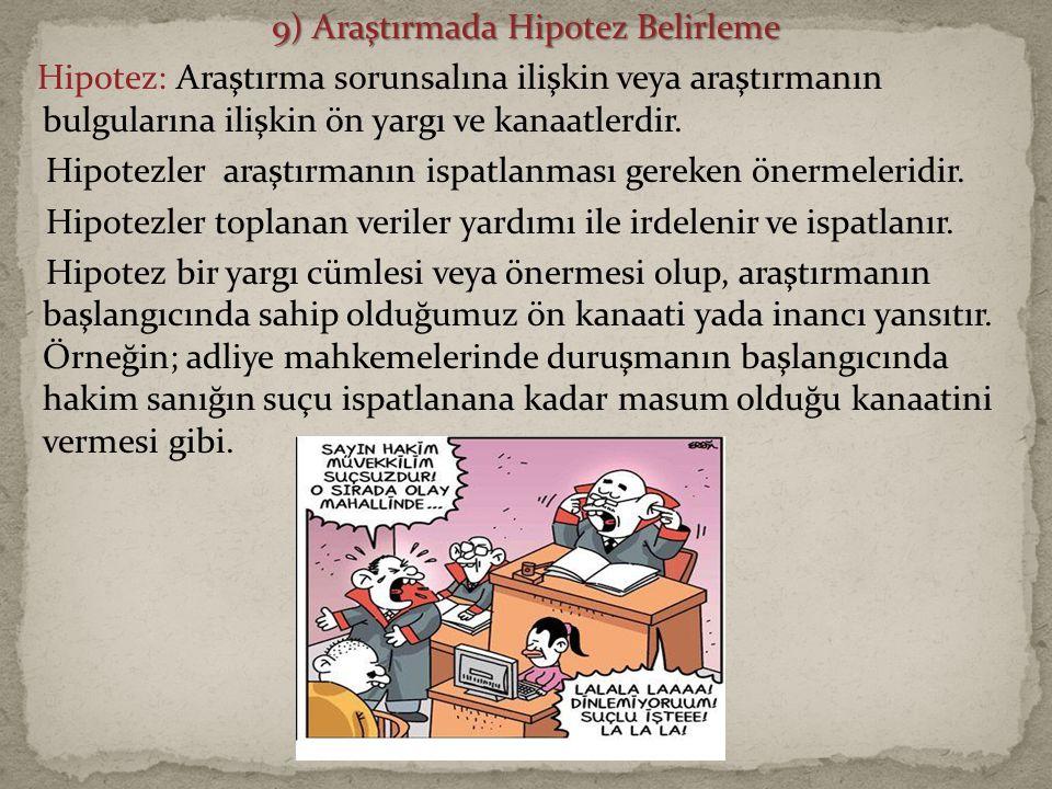 9) Araştırmada Hipotez Belirleme Hipotez: Araştırma sorunsalına ilişkin veya araştırmanın bulgularına ilişkin ön yargı ve kanaatlerdir.