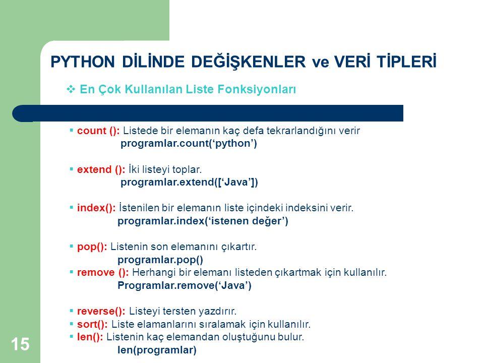 PYTHON DİLİNDE DEĞİŞKENLER ve VERİ TİPLERİ  En Çok Kullanılan Liste Fonksiyonları  count (): Listede bir elemanın kaç defa tekrarlandığını verir programlar.count('python')  extend (): İki listeyi toplar.