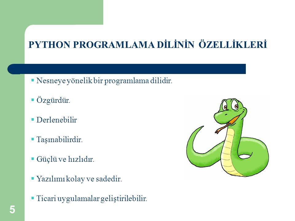 PYTHON PROGRAMLAMA DİLİNİN ÖZELLİKLERİ  Nesneye yönelik bir programlama dilidir.  Özgürdür.  Derlenebilir  Taşınabilirdir.  Güçlü ve hızlıdır. 