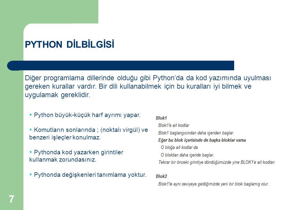 PYTHON DİLBİLGİSİ Diğer programlama dillerinde olduğu gibi Python'da da kod yazımında uyulması gereken kurallar vardır. Bir dili kullanabilmek için bu