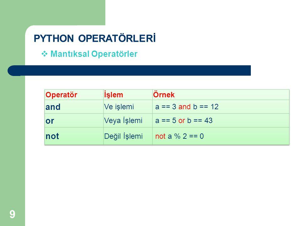 PYTHON OPERATÖRLERİ  Mantıksal Operatörler 9