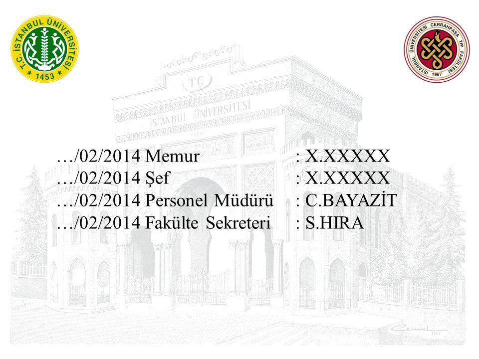 …/02/2014 Memur : X.XXXXX …/02/2014 Şef : X.XXXXX …/02/2014 Personel Müdürü : C.BAYAZİT …/02/2014 Fakülte Sekreteri : S.HIRA