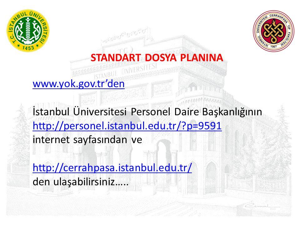 STANDART DOSYA PLANINA www.yok.gov.tr'den İstanbul Üniversitesi Personel Daire Başkanlığının http://personel.istanbul.edu.tr/?p=9591 internet sayfasın