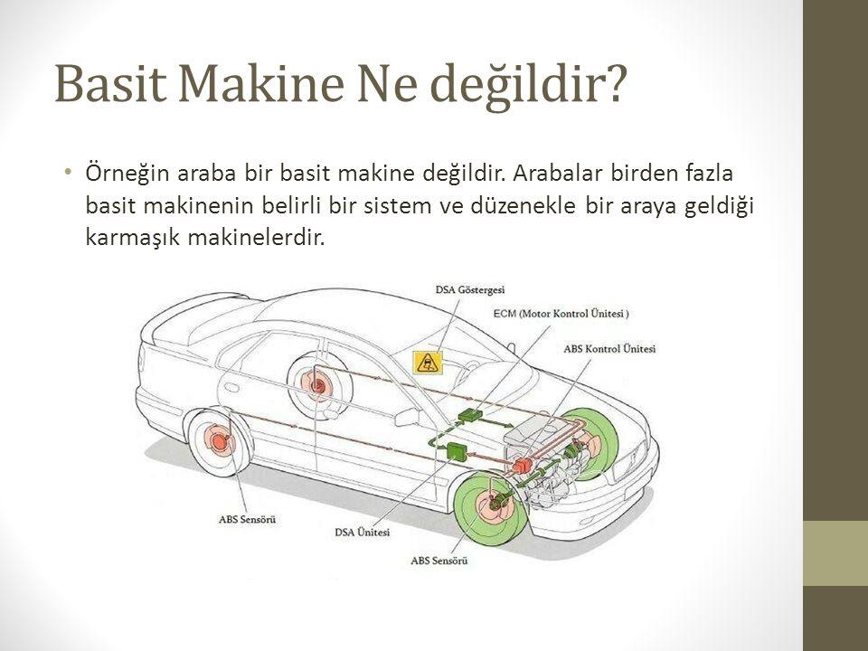 Basit Makine Ne değildir? Örneğin araba bir basit makine değildir. Arabalar birden fazla basit makinenin belirli bir sistem ve düzenekle bir araya gel
