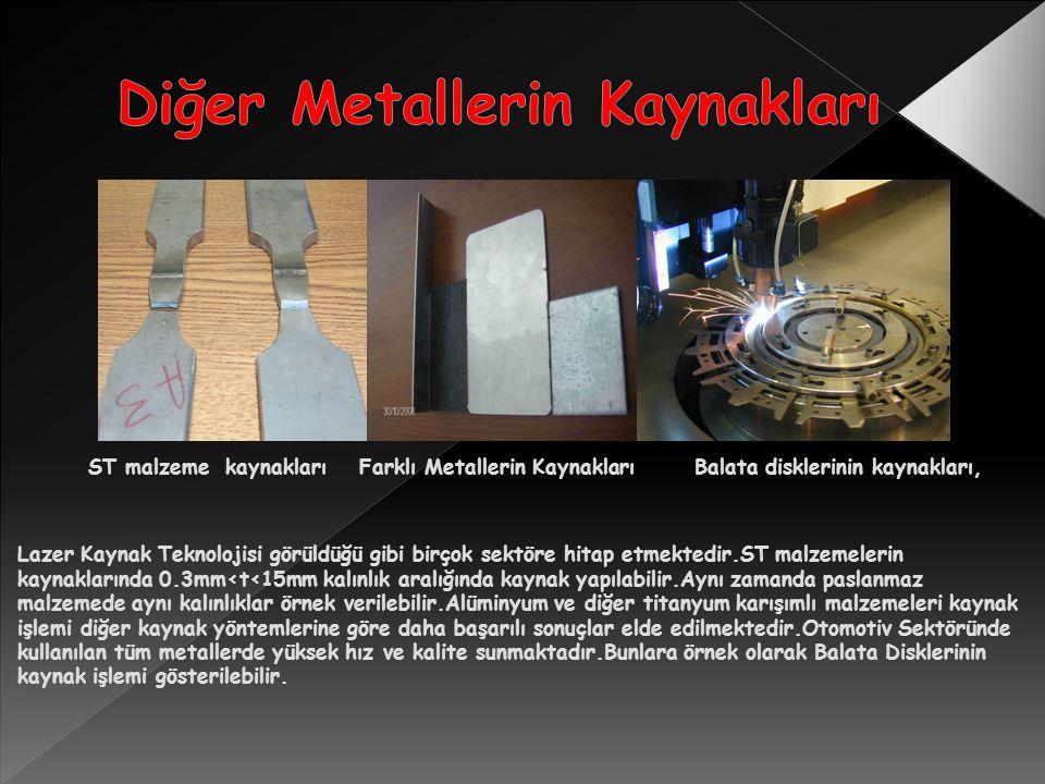 ST malzeme kaynakları Farklı Metallerin Kaynakları Balata disklerinin kaynakları, Lazer Kaynak Teknolojisi görüldüğü gibi birçok sektöre hitap etmektedir.ST malzemelerin kaynaklarında 0.3mm<t<15mm kalınlık aralığında kaynak yapılabilir.Aynı zamanda paslanmaz malzemede aynı kalınlıklar örnek verilebilir.Alüminyum ve diğer titanyum karışımlı malzemeleri kaynak işlemi diğer kaynak yöntemlerine göre daha başarılı sonuçlar elde edilmektedir.Otomotiv Sektöründe kullanılan tüm metallerde yüksek hız ve kalite sunmaktadır.Bunlara örnek olarak Balata Disklerinin kaynak işlemi gösterilebilir.