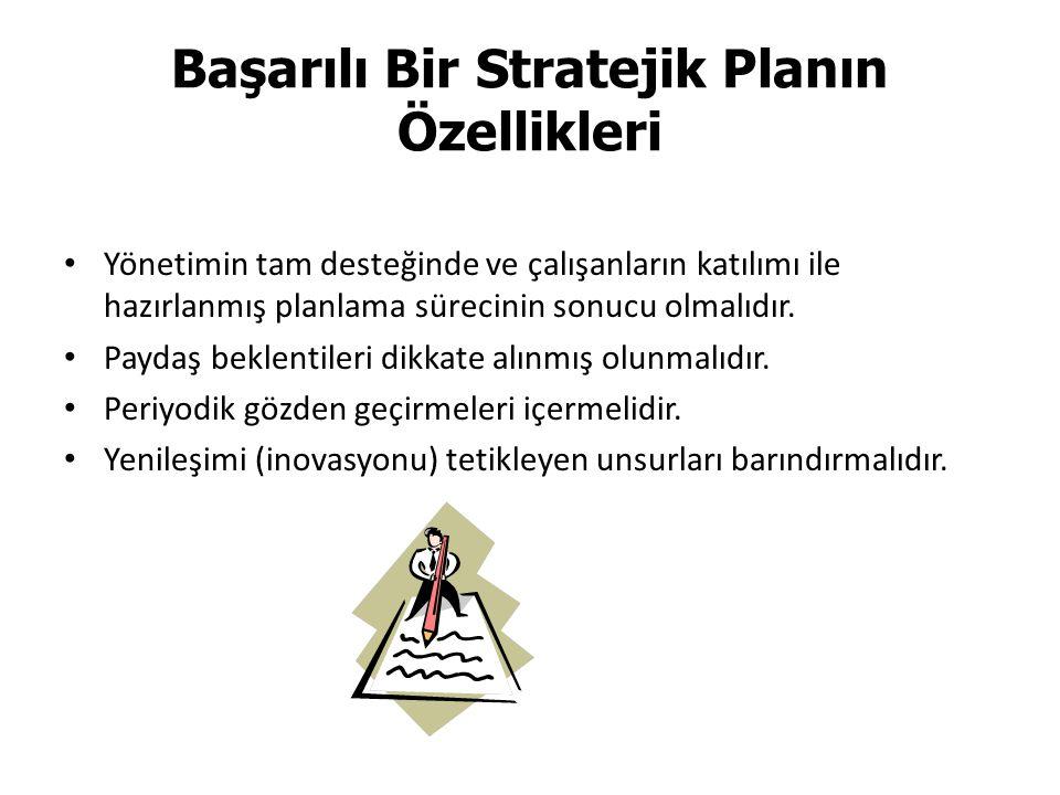 Başarılı Bir Stratejik Planın Özellikleri Yönetimin tam desteğinde ve çalışanların katılımı ile hazırlanmış planlama sürecinin sonucu olmalıdır.