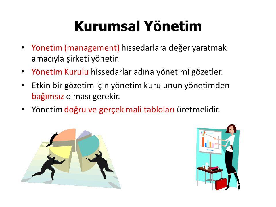 Yönetim (management) hissedarlara değer yaratmak amacıyla şirketi yönetir.