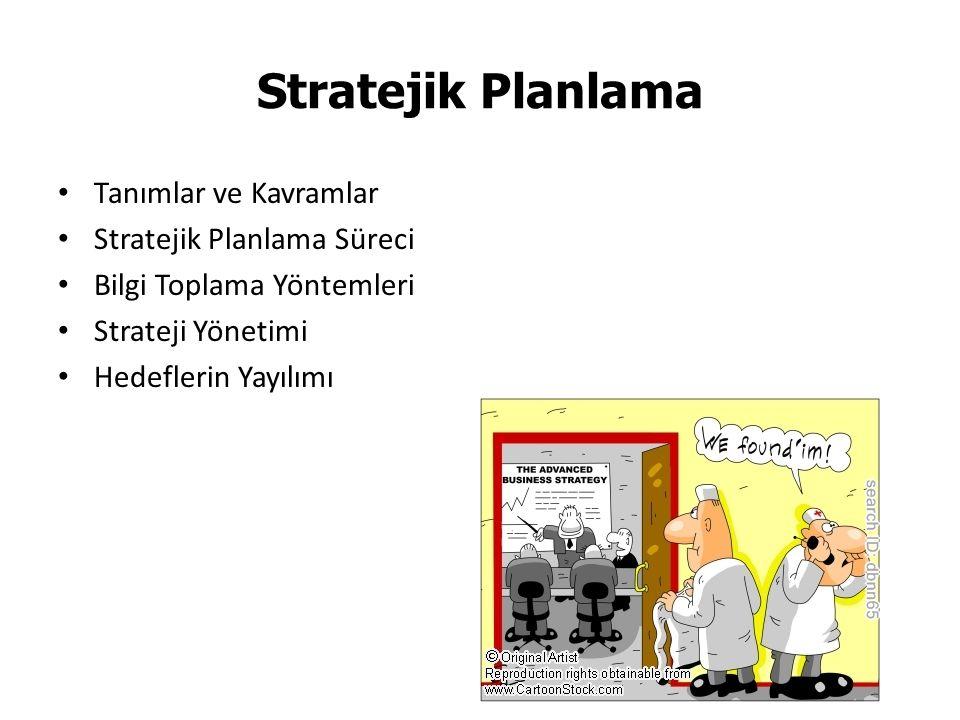 Tanımlar ve Kavramlar Stratejik Planlama Süreci Bilgi Toplama Yöntemleri Strateji Yönetimi Hedeflerin Yayılımı Stratejik Planlama