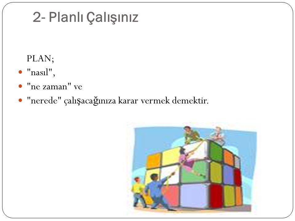 2- Planlı Çalışınız PLAN;