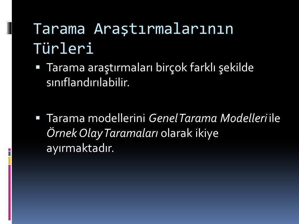 Tarama Araştırmalarının Türleri  Tarama araştırmaları birçok farklı şekilde sınıflandırılabilir.  Tarama modellerini Genel Tarama Modelleri ile Örne