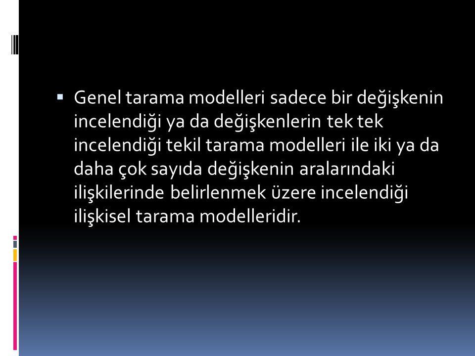  Genel tarama modelleri sadece bir değişkenin incelendiği ya da değişkenlerin tek tek incelendiği tekil tarama modelleri ile iki ya da daha çok sayıd