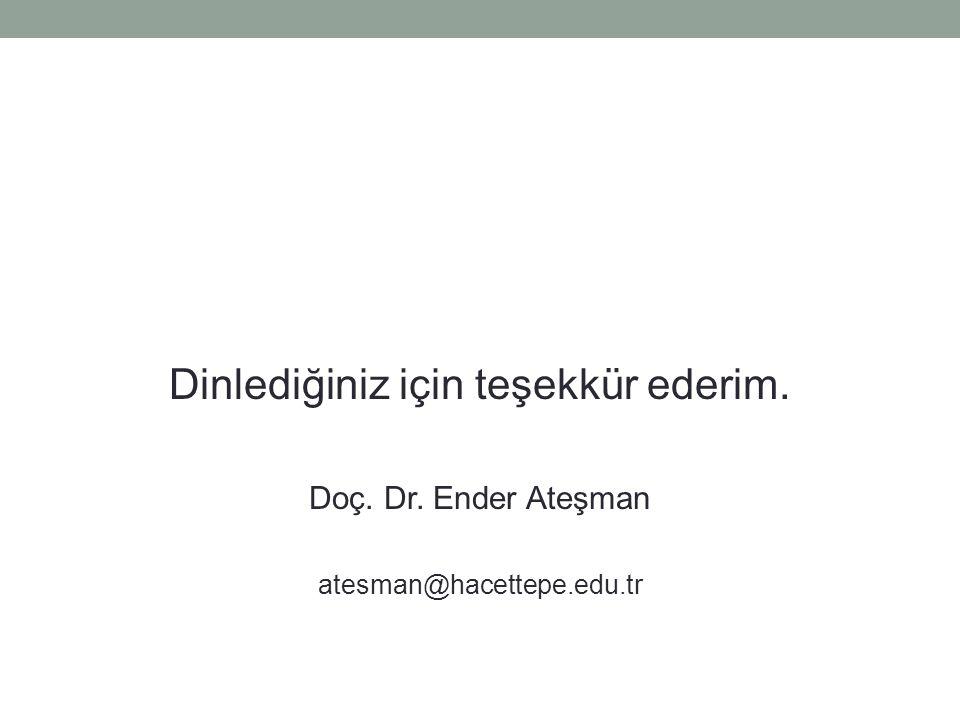 Dinlediğiniz için teşekkür ederim. Doç. Dr. Ender Ateşman atesman@hacettepe.edu.tr