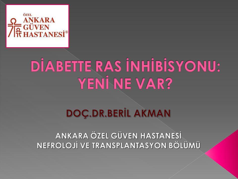 HT (+/-) albuminüriye yönelik tedaviler KBH gelişimini yavaşlatır  Normotansif,normoalbuminürik DM hastalarında DBH primer korunma için ACEI /ARB kullanımı önerilmez  Normotansif DM ve albuminüri≥30 mg/g olan hastalarda (DBH riski ve ilerleme ihtimali yüksek olduğu için) ACEI /ARB kullanımı önerilir KDOQI clinical practice guideline for Diabetes and CKD:2012 update (AJKD) (Guideline 6)