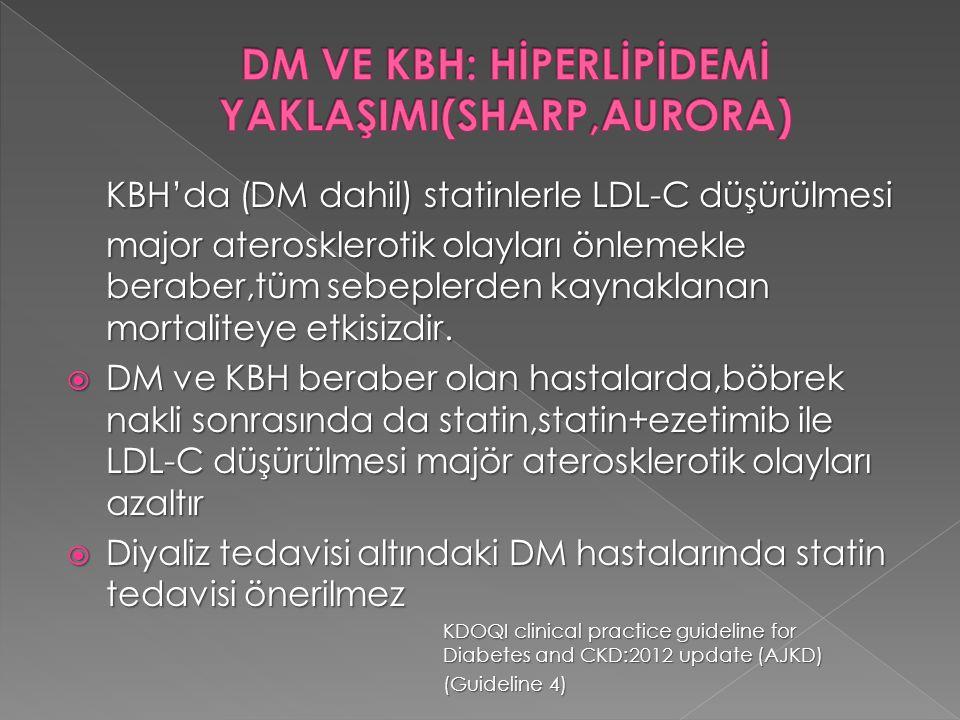 KBH'da (DM dahil) statinlerle LDL-C düşürülmesi major aterosklerotik olayları önlemekle beraber,tüm sebeplerden kaynaklanan mortaliteye etkisizdir. 