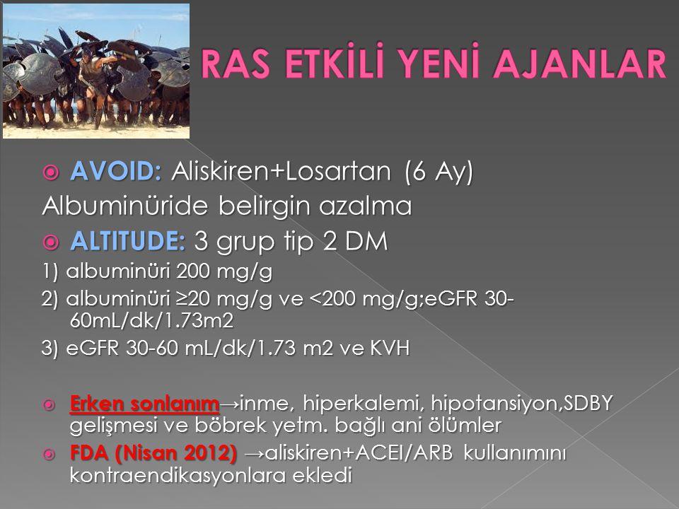  AVOID: Aliskiren+Losartan (6 Ay) Albuminüride belirgin azalma  ALTITUDE: 3 grup tip 2 DM 1) albuminüri 200 mg/g 2) albuminüri ≥20 mg/g ve <200 mg/g