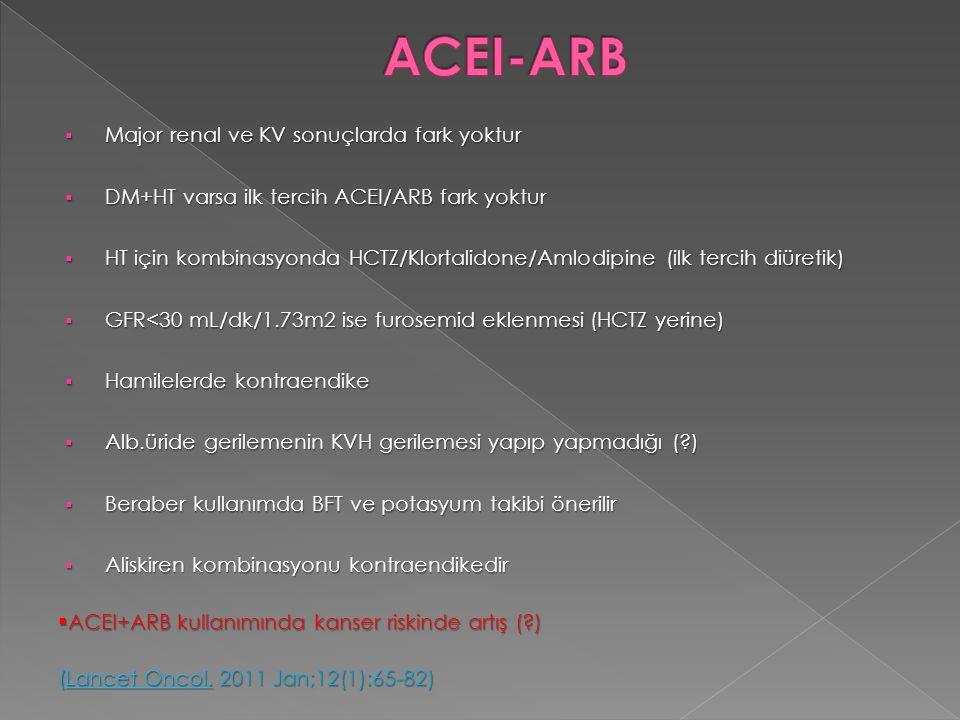  Major renal ve KV sonuçlarda fark yoktur  DM+HT varsa ilk tercih ACEI/ARB fark yoktur  HT için kombinasyonda HCTZ/Klortalidone/Amlodipine (ilk ter