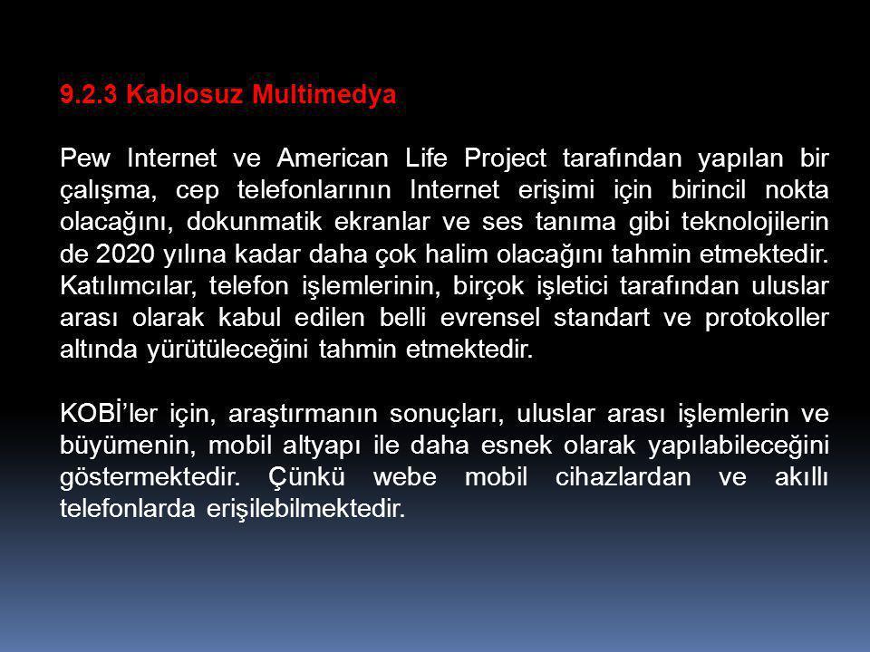 9.2.3 Kablosuz Multimedya Pew Internet ve American Life Project tarafından yapılan bir çalışma, cep telefonlarının Internet erişimi için birincil nokt