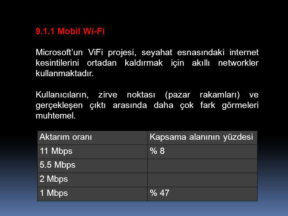 9.1.1 Mobil Wi-Fi Microsoft'un ViFi projesi, seyahat esnasındaki internet kesintilerini ortadan kaldırmak için akıllı networkler kullanmaktadır. Kulla