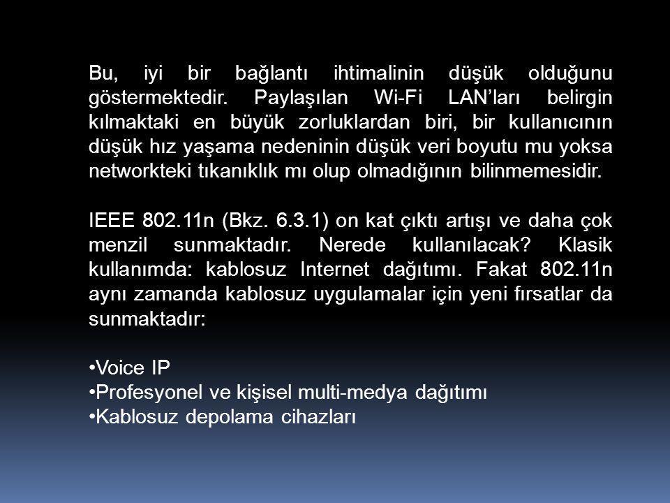 Bu, iyi bir bağlantı ihtimalinin düşük olduğunu göstermektedir. Paylaşılan Wi-Fi LAN'ları belirgin kılmaktaki en büyük zorluklardan biri, bir kullanıc