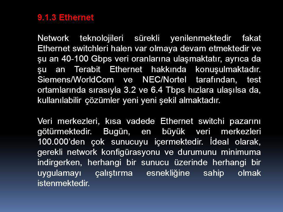 9.1.3 Ethernet Network teknolojileri sürekli yenilenmektedir fakat Ethernet switchleri halen var olmaya devam etmektedir ve şu an 40-100 Gbps veri oranlarına ulaşmaktatır, ayrıca da şu an Terabit Ethernet hakkında konuşulmaktadır.