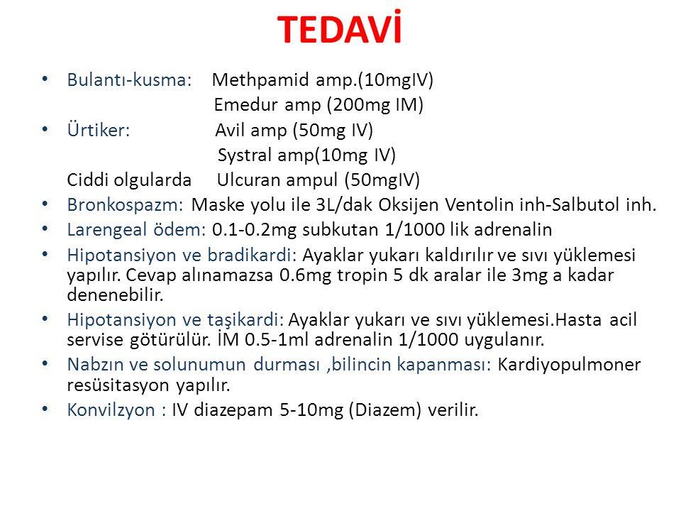 TEDAVİ Bulantı-kusma: Methpamid amp.(10mgIV) Emedur amp (200mg IM) Ürtiker: Avil amp (50mg IV) Systral amp(10mg IV) Ciddi olgularda Ulcuran ampul (50m