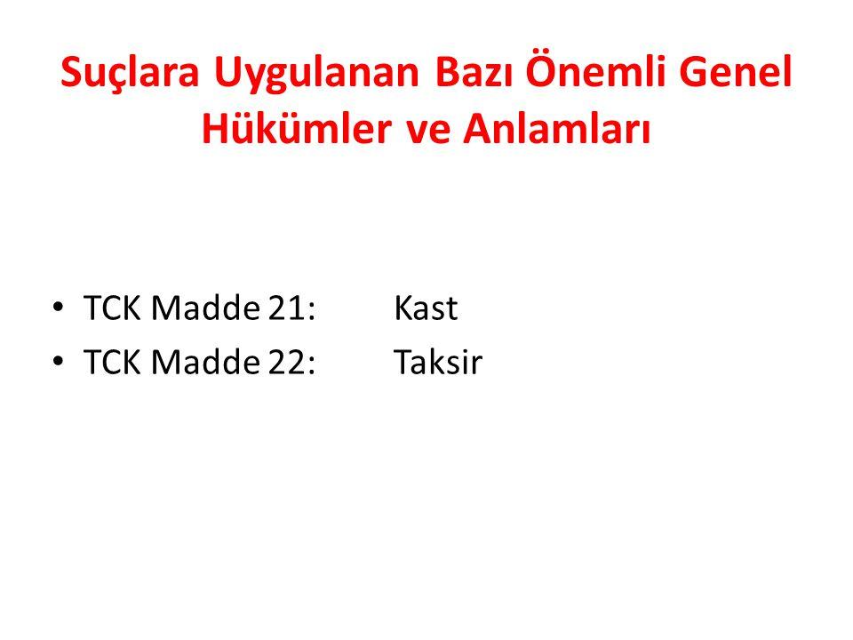 Suçlara Uygulanan Bazı Önemli Genel Hükümler ve Anlamları TCK Madde 21: Kast TCK Madde 22: Taksir