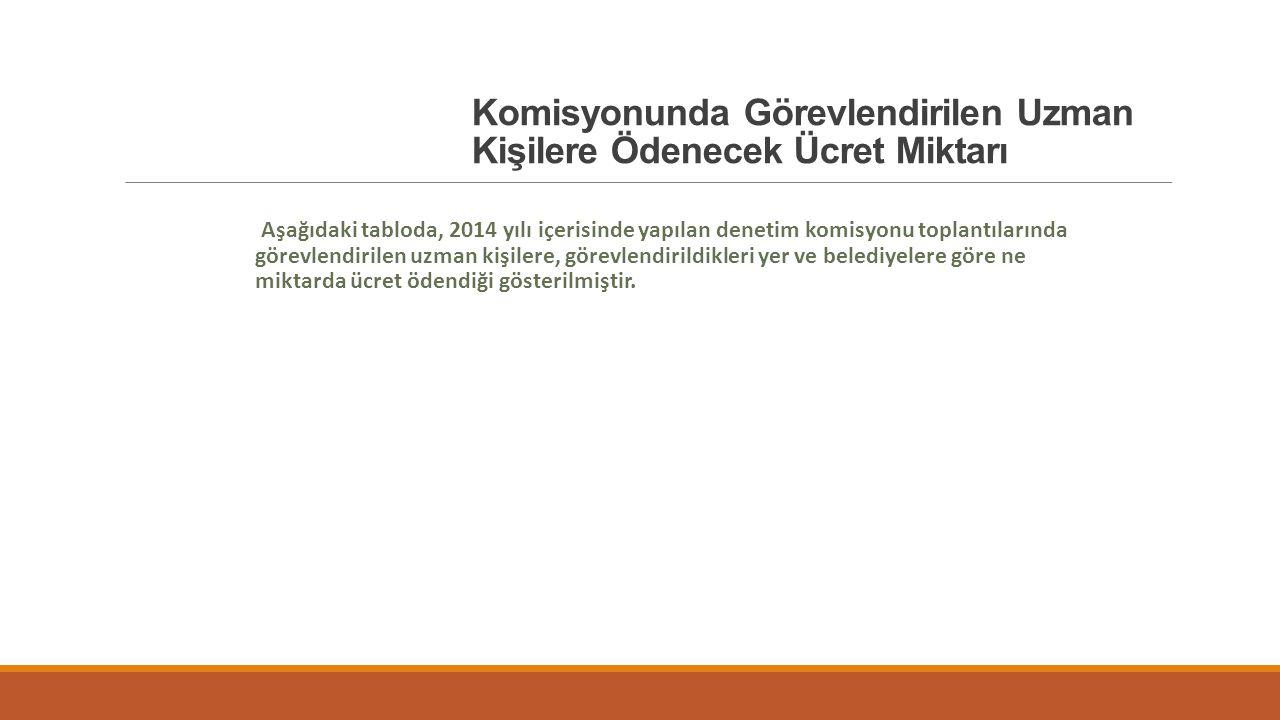 Aşağıdaki tabloda, 2014 yılı içerisinde yapılan denetim komisyonu toplantılarında görevlendirilen uzman kişilere, görevlendirildikleri yer ve belediye