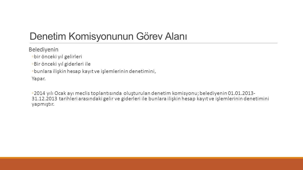Denetim Komisyonunun Görev Alanı Belediyenin ◦bir önceki yıl gelirleri ◦Bir önceki yıl giderleri ile ◦bunlara ilişkin hesap kayıt ve işlemlerinin dene