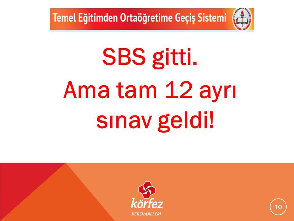 10 SBS gitti. Ama tam 12 ayrı sınav geldi!